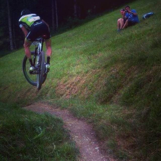 Having some fun during the race yesterday